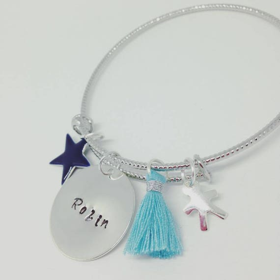 """Order special BAJ3 - Bangle personalized shimmering Silver """"Hello love"""" my pti dude with engraving"""