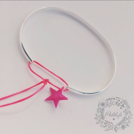 Silver Bangle * silver plated Bangle Punchy by Palilo star Bangle Bracelet