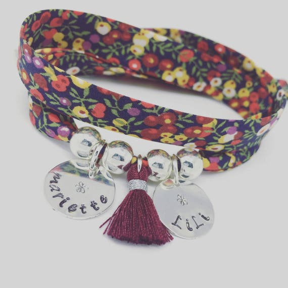 PERSONALIZED BRACELET * Bracelet GriGri XL Liberty colored with 2 custom ENGRAVINGS and tassel by Palilo