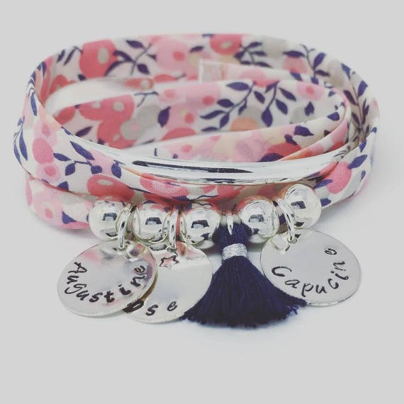 ★ personalized jewel ★ Bracelet GriGri XL Liberty of London sweet pea 3 prints custom & tassel Palilo jewelry ★ ★