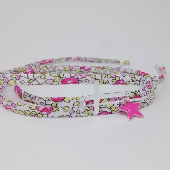 My my lovely silver cross charm. Adult woman fabric bracelet liberty by Palilo