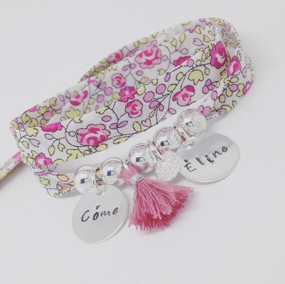 Liberty Eloise * Bracelet personalized GriGri XL with 2 custom ENGRAVINGS and tassel by Palilo