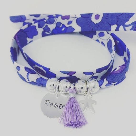 Bracelet personalized GriGri XL Liberty with custom engraving, boy money and tassel by Palilo