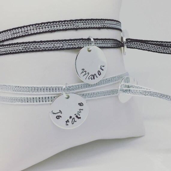 ★ DUO BRACELETS Ribbon personalized 2 Bracelets Juju lucky silver with engraving personalized jewelry Palilo ★ ★