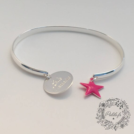 Custom silver Bangle by Palilo star Bangle Bracelet