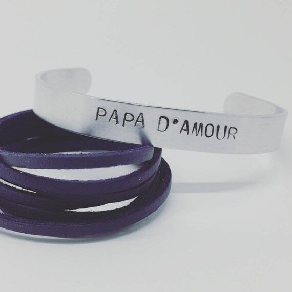 Men's bracelet personalized fathers day - creating custom - personalized - Bracelet cuff Bangle silver mat with