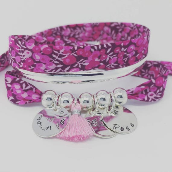 BRACELET LIBERTY FUCHSIA name * Bracelet GriGri Liberty with 3 custom ENGRAVINGS and tassel by Palilo XL