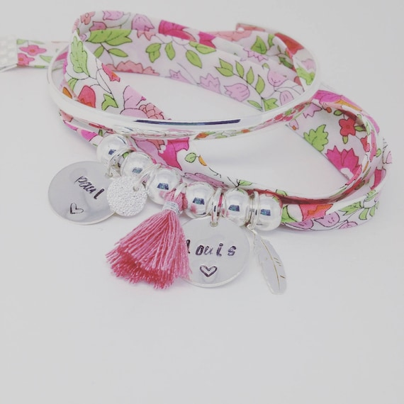 Personalized Bracelet GriGri XL Liberty star with 2 custom ENGRAVINGS, silver feather and tassel by Palilo