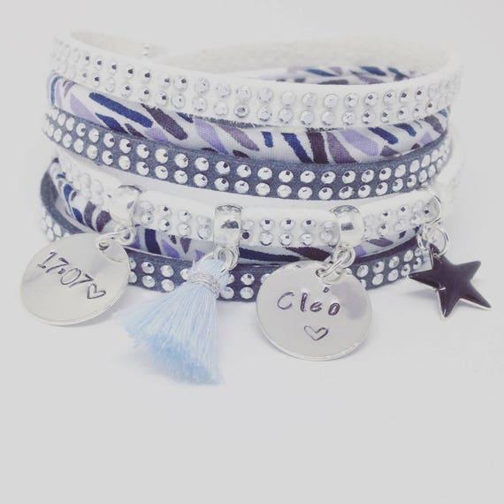 Personalized Bracelet multi strand sky with 2 custom ENGRAVINGS by Palilo