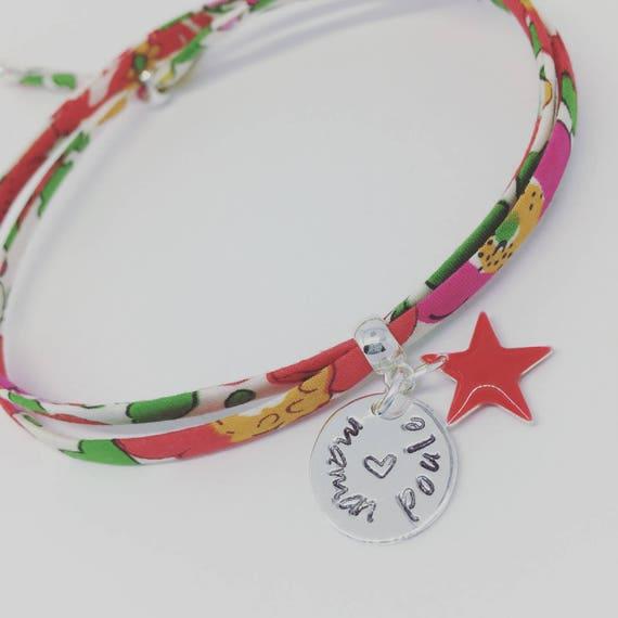 ★ LIBERTY mother hen ★ Personalized Bracelet GriGri Liberty engraving choice BRACELET. Teen & adult bracelet