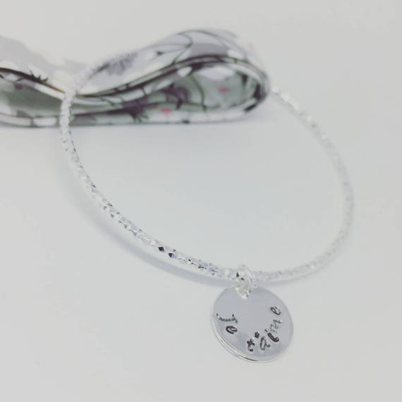 ★ custom silver Bangle Bracelet silver plated 925 sparkling with engraving personalized jewelry Palilo ★ ★