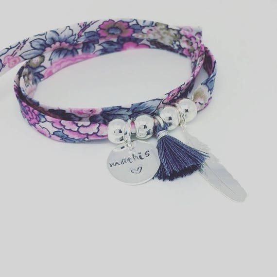 Personalized Bracelet Liberty GriGri XL with custom engraving, feather silver and tassel by Palilo