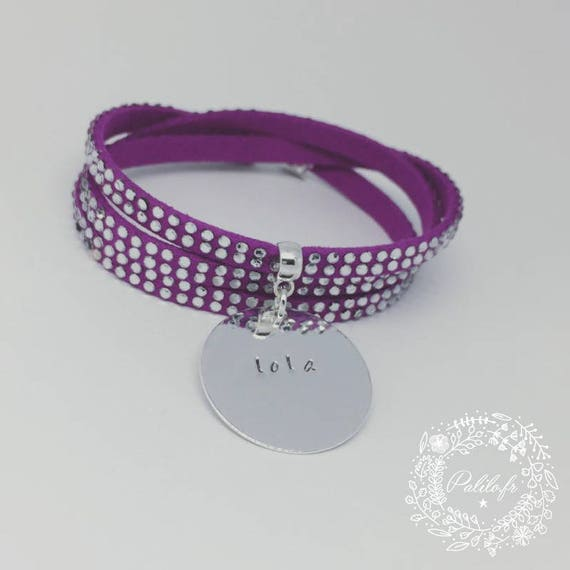 """Personalized Bracelet multi-turn with Medal and its customizable engraving by Palilo """"rhinestones"""""""