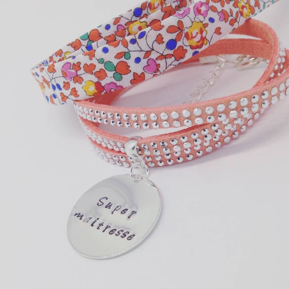 "TEACHER AIDES nanny gift * Bracelet personalized multi-turn with Medal and its customizable engraving ""Rhinestones"""