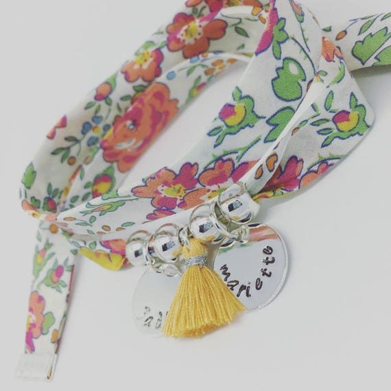 Personalized Bracelet GriGri XL Liberty with 2 prints and tassel by Palilo