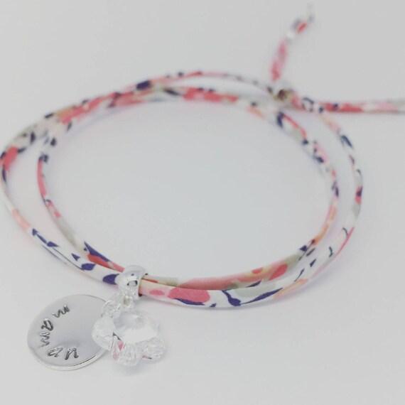 LIBERTY SWAROVSKI BRACELET - Personalized Bracelet GriGri Liberty print choice. Teen & adult bracelet