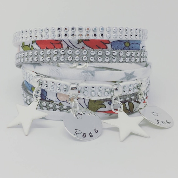 ★ Personalized Bracelet multi strand Liberty Poppy & Daisy with 2 custom ENGRAVINGS by Palilo ★