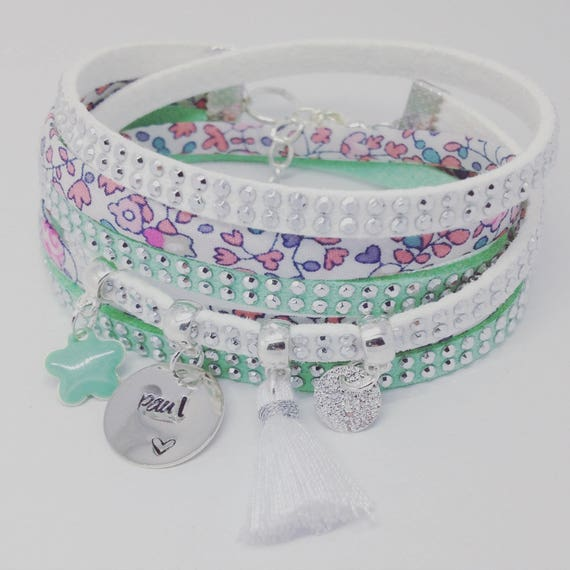 Personalized Bracelet multi strand Liberty Eloise with personalized engraving by Palilo