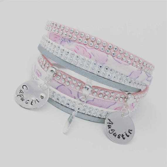 ★ Idea MOM ★ Liberty Betsy blotting paper layered with 2 custom ENGRAVINGS by Palilo Jewelry Personalized Bracelet