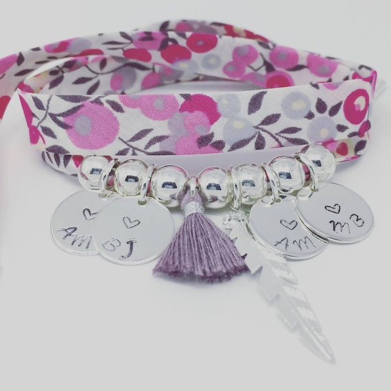 Bracelet Liberty WILTSHIRE BOUGAINVILLEA - GriGri XL with 4 prints custom, exclusive silver feather and tassel by Palilo