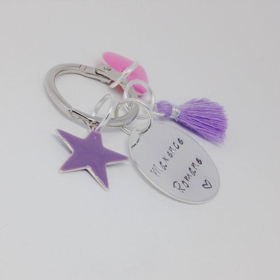 TEACHER gift & AIDES * bag charm, Keychain with custom engraving and charms. Gift idea