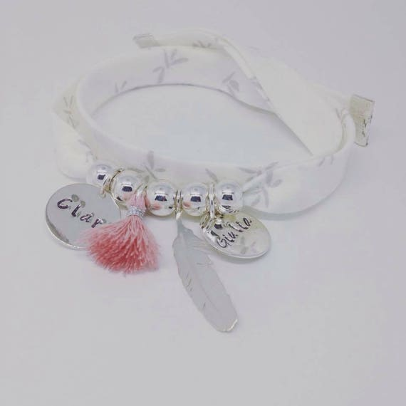 Bracelet GriGri XL with 2 custom ENGRAVINGS, silver feather and tassel by Palilo Liberty