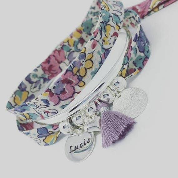 Personalized Bracelet GriGri Liberty Love with custom engraving and tassel by Palilo XL