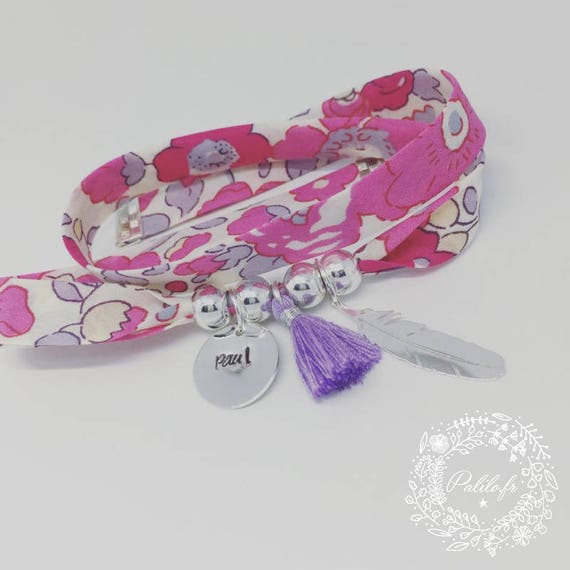 Bracelet GriGri XL Liberty with custom engraving, feather silver and tassel by Palilo