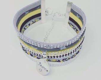 Bracelet personnalisé Manchette Liberty of London Pepper 7 rangs by Palilo