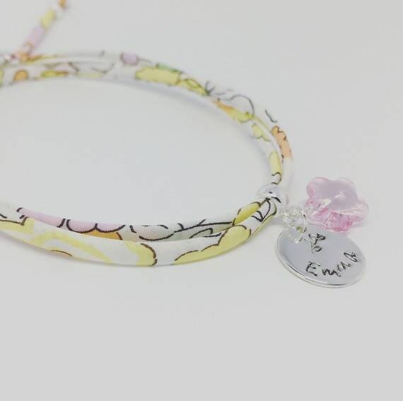 LIBERTY SWAROVSKI BRACELET - Personalized Bracelet GriGri Liberty with etching to choose. Baby child bracelet