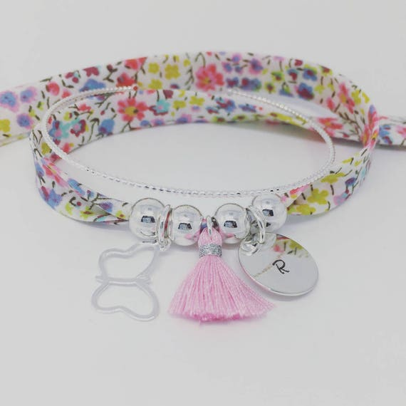 ★★ Collection little girl ★★ custom GriGri XL Liberty Bracelet with personalized engraving by Palilo silver Butterfly