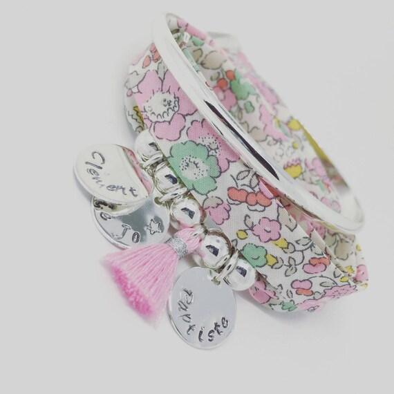 ★ personalized jewel ★ Bracelet GriGri XL Liberty of London Betsy Rose 3 names custom & tassel Palilo jewelry ★ ★
