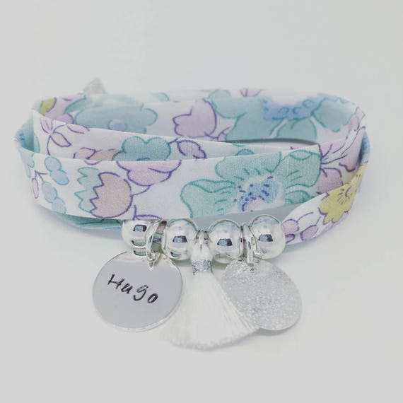 LIBERTY BETSY CELADON * Bracelet personalized GriGri XL Liberty with custom engraving and tassel by Palilo