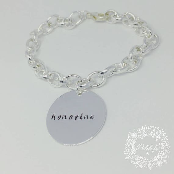 "Silver bracelet with a medal and its customizable engraving ""Darling"" by Palilo"