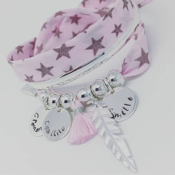 ★ Jewelry custom engraving ★ Bracelet Liberty of London pink ★ GriGri XL with 3 prints custom Palilo ★