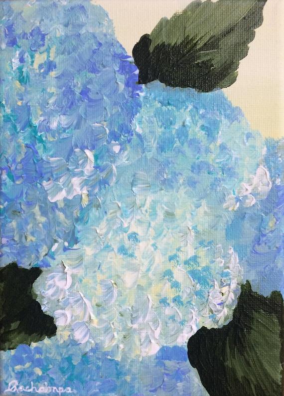 Blue Hydrangeas / Cape Cod Style Decor / Coastal Beach Decor / Original  Painting on Canvas / Shelf Decor / \