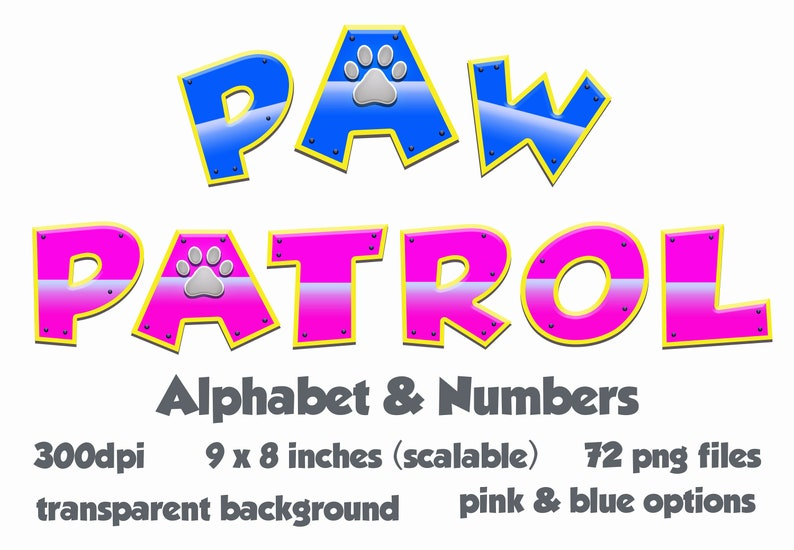 Paw Patrol Text Affect Clipart Font Alphabet Numbers Transparent Background  PNG RGB Digital Blue Pink Instant Download Party