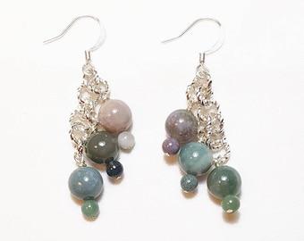 Fancy Jasper Gemstone Waterfall Beaded Earrings