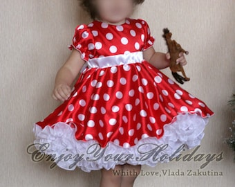Mouse cosplay dress for girl.  Carnival costume. Mouse Ears with Bow. Red Polka Dot
