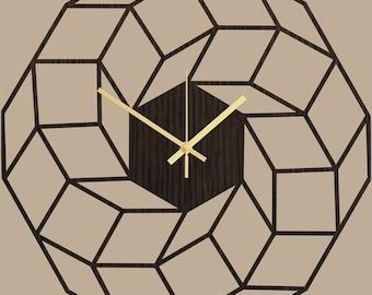 Large Wall Clock, Geometric Clock Dreamcatcher, Clocks for Wall, Home Gifts, Modern Wall Clock, Modern Home Decor, Silent Wooden Clock