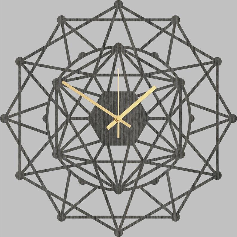 Horloge murale - Kaléidoscope dhorloge de mur de bois, décor en bois, horloges en bois géométriques, conception dhorloge, grande horloge, horloge de cuisine, décor rustique de mur