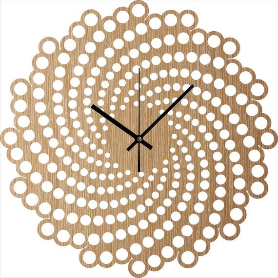 Wanduhr - Holz Wanduhr Spirale, hängende Wanduhr, Wohnzimmer Uhr,  minimalistische Uhren, stille natürliche Eiche Uhr, Haus und Leben