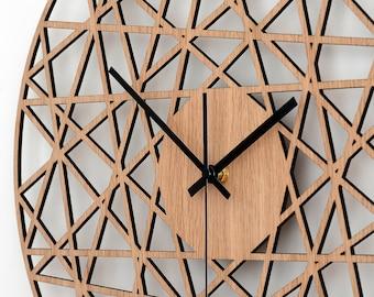 Polygonal Wall Clock - Wood Living Room Clock, Home Decor, Wood Decor, Modern Wall Clocks, Silent Natural Oak Clock, Gift for Home