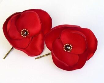 poppy satin flower hair clip, hair, red flower hair clip