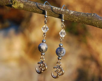 Sodalite Om Earrings