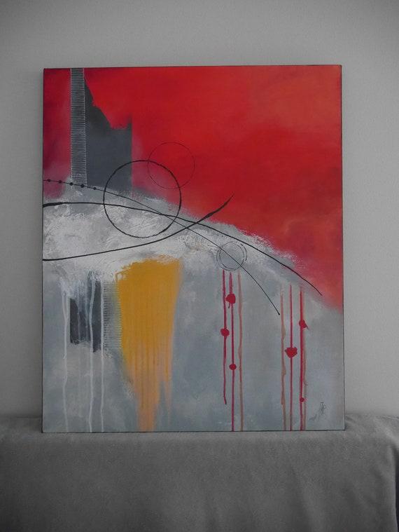 peinture abstraite gris et rouge