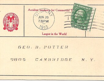 US 1913 Accident Insurance of Commerial Travelers 2 Dollars postage card