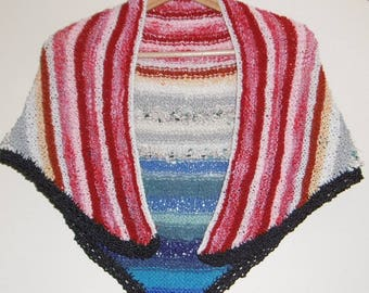 Original striped MULTICOLOR hand knitted warm shawl