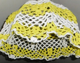 a beautiful LUSTER yellow and white crochet handmade