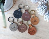 Personalized Round Leather Keychain, Fob, Gift, Anniversary, Multiple Colors, Circle